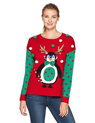 Blizzard Bay Women's L/s Crew Neck Hi-Low Pullover W.Antler Penguin, Christmas red, M -