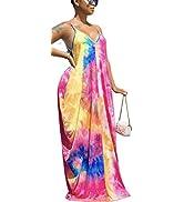 Women's Maxi Sunflower Dresses Sleeveless Long Tie Dye Dress Casual Sundresses with Pockets