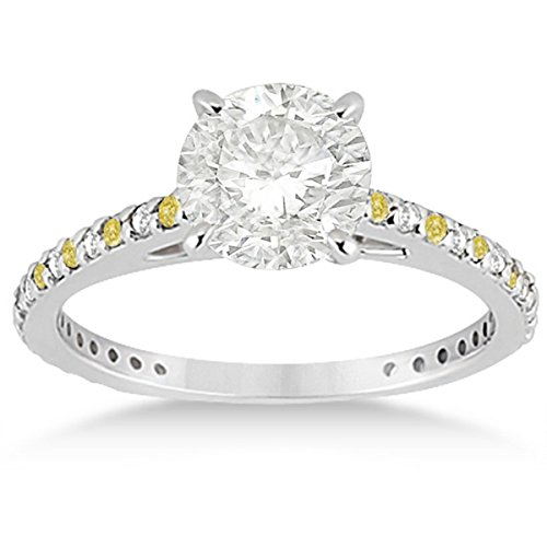 Pave Set White and Canary Yellow Diamond Engagement Ring Setting Bridal Palladium (Palladium Yellow Ring)