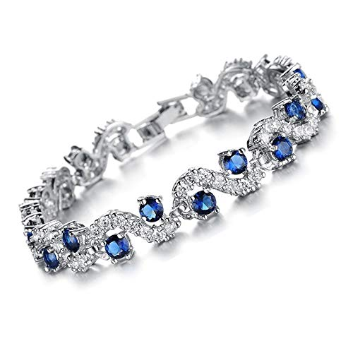 Feraco Blue Tennis Bracelet Women Cubic Zirconia Sapphire Jewelry Bridal Crystal Bangle Mom Daughter,7.48 inch by Feraco