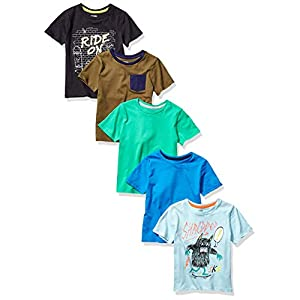 Amazon Brand – Spotted Zebra Boy's Toddler & Kids 5-Pack Short-Sleeve T-Shirts