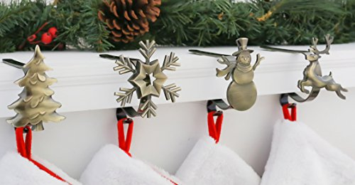 Haute Decor MantleClip Stocking Holders with Removable ZINC ALLOY Holiday Icons (4-pack Assorted Icons, Antique Brass)