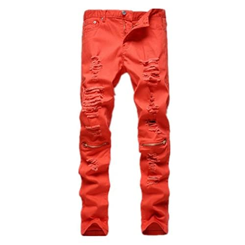 800524a3 Sarriben Mens Ripped Destroyed Distressed Knee Zipper Skinny Denim Jeans  Pant outlet