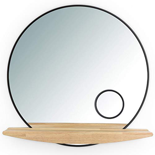 SRIWATANA Wall Mirror with Shelf Decorative Round Wall Mirror with 3 Times Magnifier Vanity Mirror for Bathroom, Living Room, Bedroom, 23.6-Inch Diameter (Mirrors Decorative Round Wall)