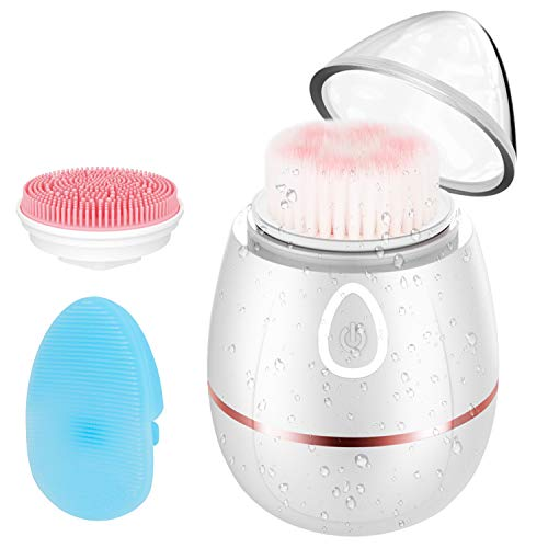Facial Cleansing Brush, 3D Sonic Vibrating Portable Wireless Charging Face Cleaning 2 Brush Heads with 4 Modes IPX6 Waterproof Electric Massager Cleansing System for Deep Cleansing Skin Care (Best Sonic Cleansing Brush)