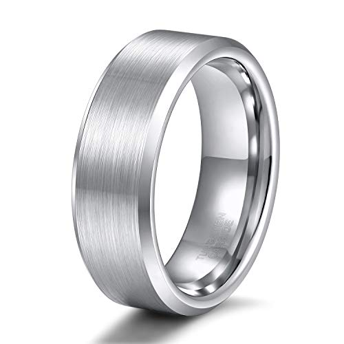 Shuremaster 8mm Mens Womens Tungsten Ring Beveled Edge Brushed Silver Wedding Band Comfort Fit Size 11 by Shuremaster