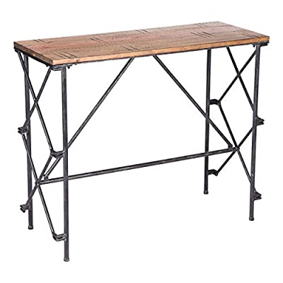 """Zuo Esquil Console Table, Brown - Overall dimensions: 36.2"""" W x 14.4"""" D x 30.3"""" H Made of Steel and solid wood Steel has a blackened Finish - living-room-furniture, living-room, console-tables - 41 skZQNrHL. SS400  -"""
