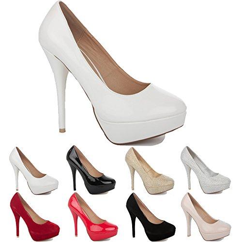 NEW WOMENS LADIES PLATFORM PARTY PROM WEDDING BRIDAL WORK HIGH HEELS STILETTO COURT SHOES PUMPS SIZE 3-8 White Patent uIfpZCg