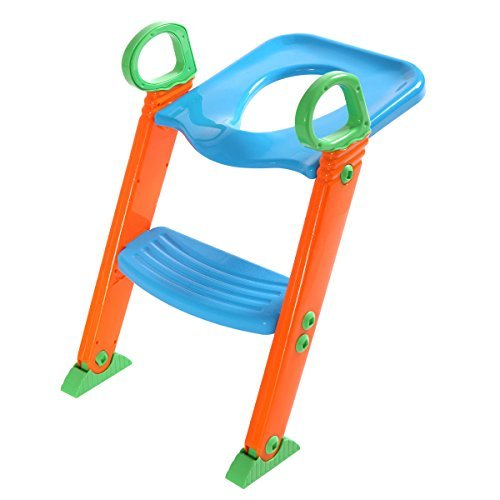 LAZYMOON Potty Trainer Seat Kids Toilet Chair Toddler With Ladder Step Up Training - Potty Trainer Chair