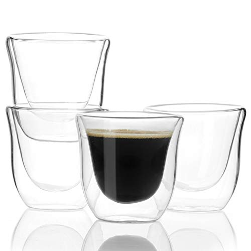 Sweese 4613 Espresso Shot Glasses Cups - 2.4 oz Double Walled Insulated Glass Espresso coffee Mugs, Set of 4 by Sweese