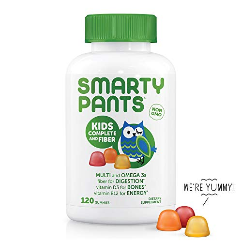 SmartyPants Kids Complete and Fiber Gummy Vitamins: Multivitamin, Gluten Free, Prebiotic Fiber, Omega 3 Fish Oil (DHA/Epa Fatty Acids), Folate (methlyfolate),Vitamin D3, 120 Count (30 Day Supply)