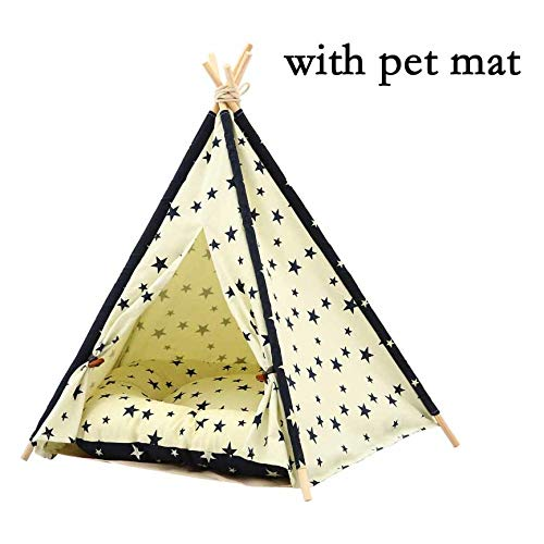 Moonnight Store JORMEL Pet Tent Dog Bed Cat Toy House Portable Washable Pet Teepee Stripe Pattern Fashion 2019 Contain Mat (07-50x50x60cm)