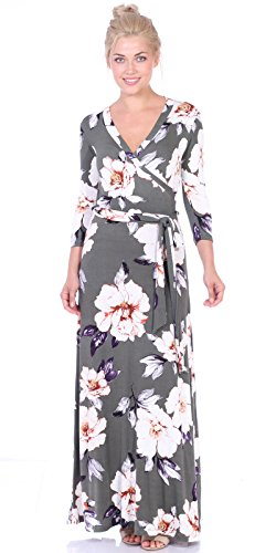 Popana Womens Casual Faux Wrap Long Floral Maxi Dress 3/4 Sleeves - Made in USA Small ST86