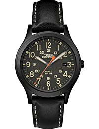 Timex Women's Casual Expedition Mid-Size Scout TW4B11200GP Black Dial and Black Leather Band Watch