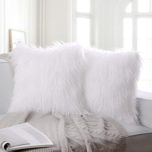 Ashler Pack of 2 Decorative Luxury Style White Faux Fur Throw Pillow Case Cushion Cover 18 x 18 Inches 45 x 45 cm ()