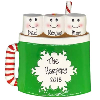 (Hot Chocolate with Marshmallows Family Personalized Christmas Tree Ornament (Family of 3))
