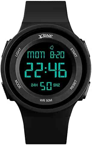 Boys Watch Digital Sports Waterproof Military Back Light Teenager Watch Black (Age for 12-15)