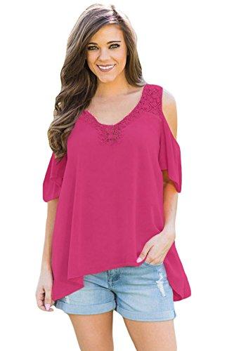 New rosy uncinetto collo & nero freddo spalla camicetta estate camicia top casual Wear taglia UK 16EU 44