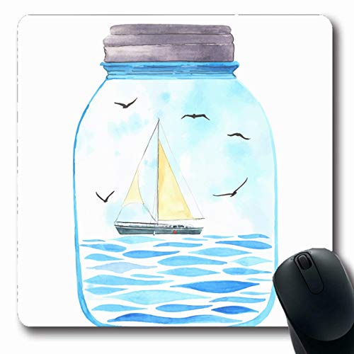 Ahawoso Mousepad Oblong 7.9x9.8 Inches Sailboat Blue Ocean Memories Jar Watercolor Sea Seagulls Parks Sky Nautical Summer Adventure Bank Office Computer Laptop Notebook Mouse Pad,Non-Slip Rubber