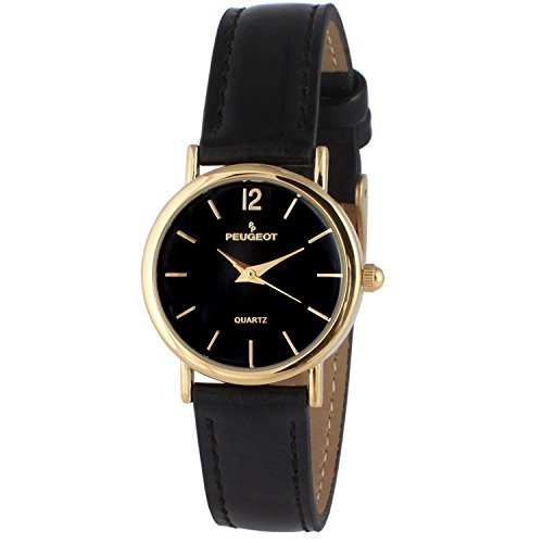 - Peugeot Women's Classic 14K Plated Round Case Everyday Leather Band Dress Watch, Black