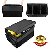 Heavy Duty Car Trunk Organizer with Lid, GOGOLO Car Boot Storage Organizer For Car, SUV, Truck, 3 Dividual Compartment, Non Slip Bases to Prevent Sliding (No Strap Needed), Foldable Sealing Cover