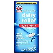 Rite Aid Fast Acting Dairy Relief Lactase Enzyme – 125 Caplets | Lactase Enzyme Supplement | Lactose Intolerance Pills