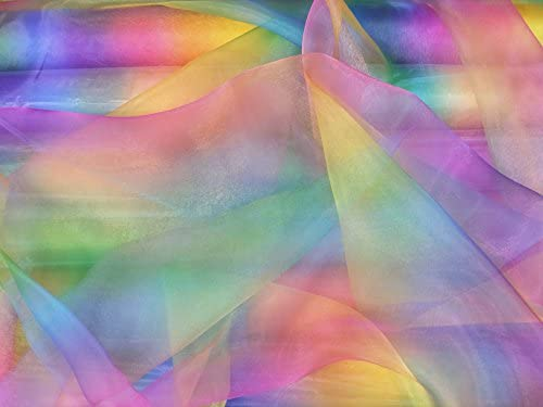 Rainbow Organza Voile Fabric Curtain Net Childrens Theatre Costume Fancy Dress