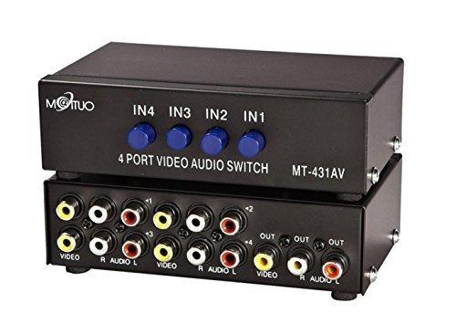 E-SDS 4-Wege AV Switch 4 in 1 heraus Audio Video L / R RCA Selector Switch Box Splitter Schwarz für DVD STB Spielkonsolen