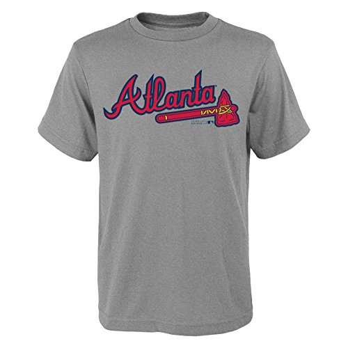 MLB Atlanta Braves Youth Boys 8-20 Wordmark Tee-L (14-16), Heather Grey