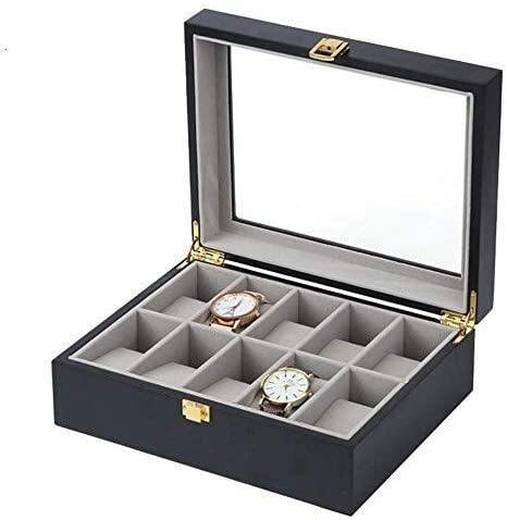 ウォッチボックス木製10スロットジュエリーディスプレイ収納ボックス/ガラストップ、良い贈り物
