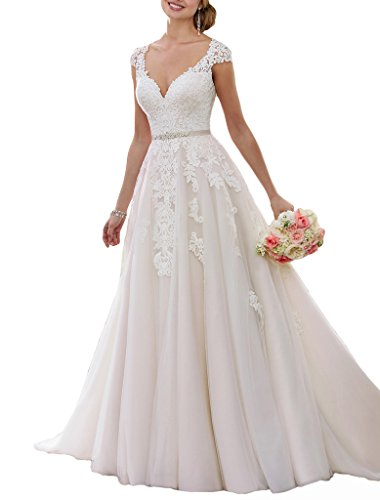 Sogala 2017 Sexy V-neck Lace Wedding Dresses for Bride with Sash Cap Sleeves Court Train