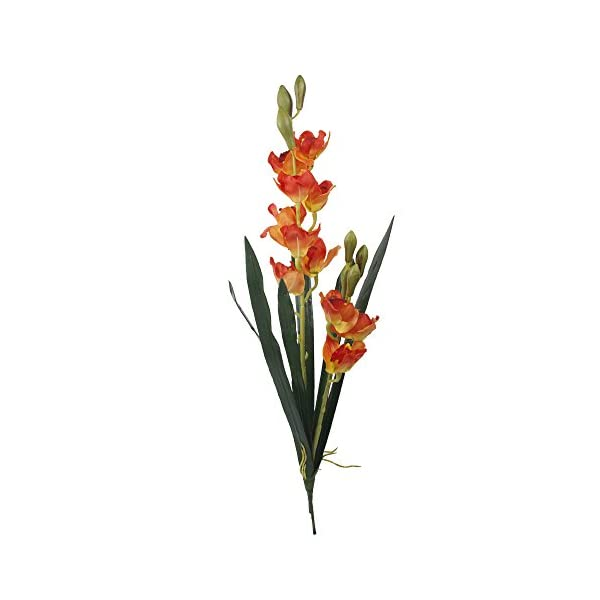 Angel Isabella Set of 2: 33″ Large Premium Quality of Cymbidium Orchid Spray (Real Touch Leaves, Silk Orchid Blooms) (Orange)
