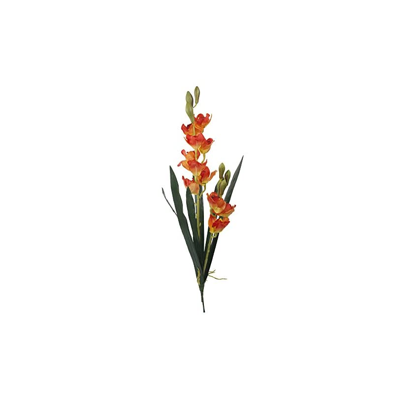 """silk flower arrangements angel isabella set of 2: 33"""" large premium quality of cymbidium orchid spray (real touch leaves, silk orchid blooms) (orange)"""