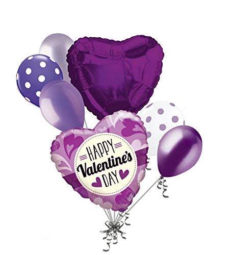 Jeckaroonie Balloons 7 pc Purple & Lavender Hearts Valentines Day Balloon Bouquet Be Mine Love You