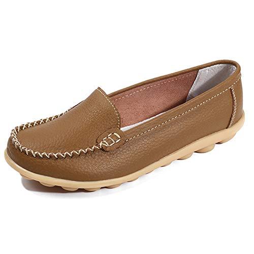 Cuir De Bateau Confort Conduite Loisir Femmes Loafers Plates Kaki Mocassins Gesimei Chaussures q1EwSHR