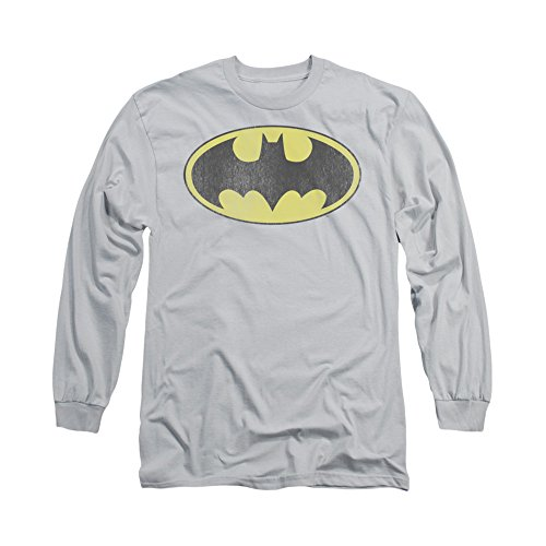 Batman+Retro+Shirts Products : DC/RETRO BAT LOGO DISTRESSED - L/S ADULT T-Shirt - SILVER