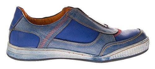 Herren Leder Schuhe Slipper TMA 4104 Halb Schuhe Blau Sneaker Comfort Sportschuhe Used Look Blau
