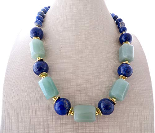 Blue lapis lazuli necklace, green aventurine necklace, stone necklace, chunky choker, big bold necklace, gemstone jewelry, contemporary jewelry