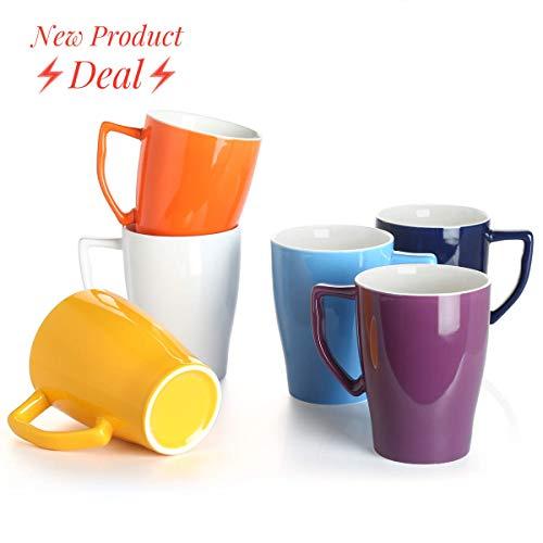 (Porcelain Mug 16 Ounce Mug for Coffee Tea Set of 6 Hot Assorted Colors Microwave and Dishwasher safe)