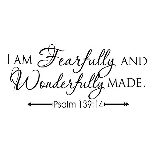 - KYSUN I AM Fearfully and Wonderfully Made Psalm 139:14 Vinyl Wall Decal Bible Scripture Inspirational Quotes Wall Art Religious Décor