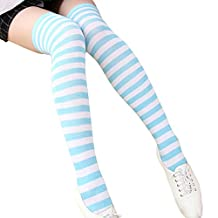 Aivtalk Women's Extra Long Opaque Striped Over Knee Thigh High Stockings Socks