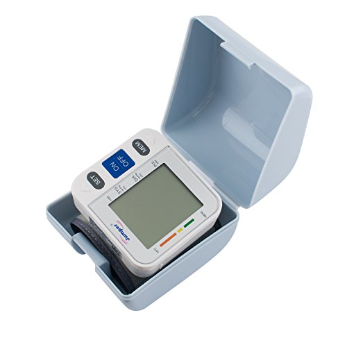 CARESHINE Automatic Wrist Blood Pressure Cuff Monitor Digital LCD Display Screen Pulse Monitoring with Adjustable Cuff and Storage Case