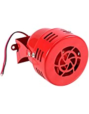 Qiilu 12V Electric Car Truck Motorcycle Driven Air Raid Siren Horn Alarm Loud 50s Red