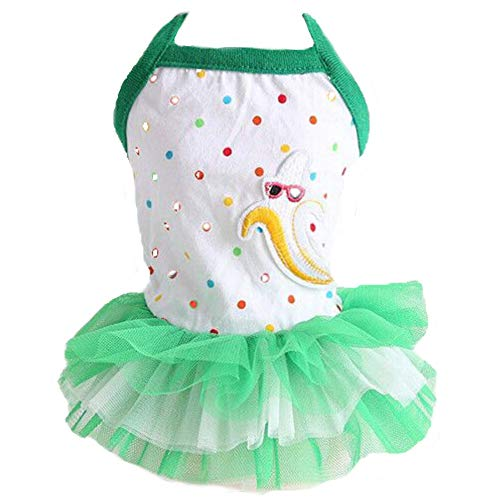 CheeseandU Small Dog Girl Dress, Cute Polka Dots and Banana Pattern Vest with Lace Tutu Dress 2019 Spring Summer Suspender Skirt Apparel Clothes for Pet Puppy Small Dog Cat, Green