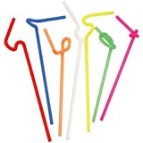 50 Flexable Plastic Colorful Super Bendy Straws, 3-Pack (150 Straws in Total)