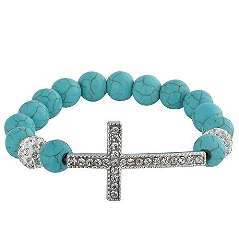Zodaca Fashion Turquoise Beads Bracelet Wristband with Shiny Rhinestones Sideways Cross Infinity Love Style, - Navy Water Resistant Bracelet