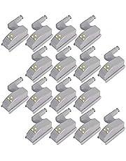 COSORO 16 stuks thuis Universal kast bewegingsmelder LED bewegingsmelder licht LED nachtverlichting kledingkast scharnier LED Light System Home Kitchen lamp, scharnieren ON/OFF nachtlampje