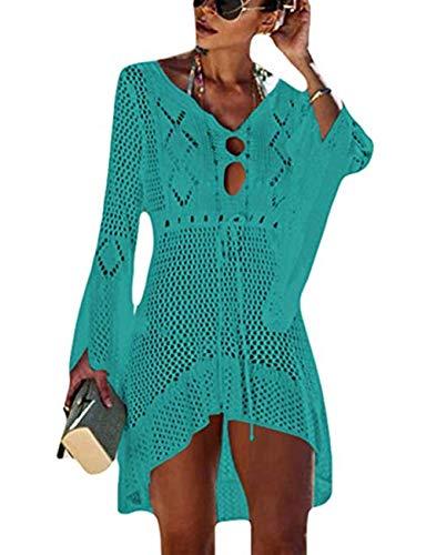 (Barlver Women Crochet Swimsuit Cover ups Hollow Out Flare Sleeve Beach Dress V Neck Beachwear Green)