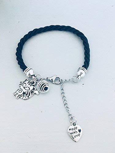 Pulsera negra con colgante de gato, joya, joyas, pulseras, pulsera ...