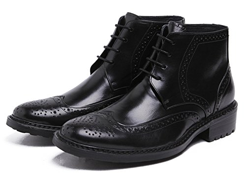 Heritage Santimon Men's by Wingtip Ankle Oxford Brogue Lace Boots Black Boot up Leather 4q55xUp1